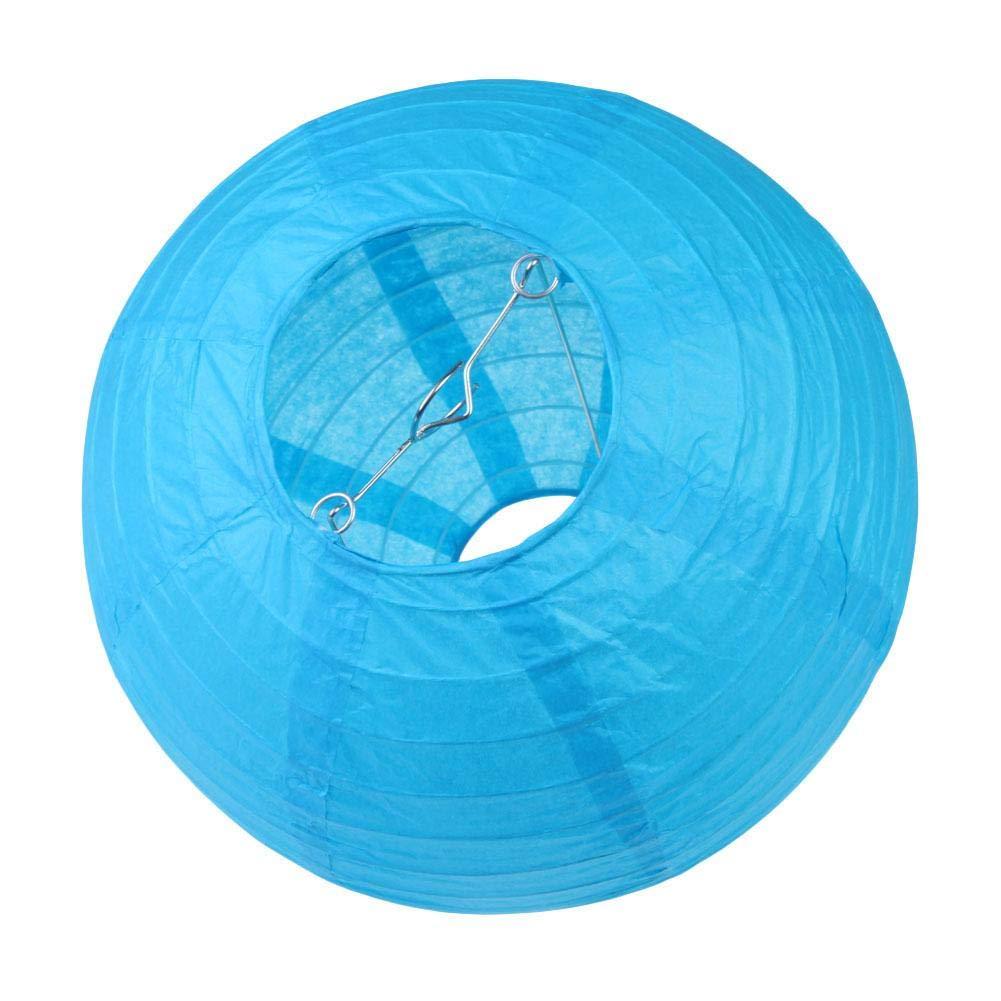 Bleu Chansted Lanterne Chinoise Ronde en Papier de 8 Pouces avec Boule en Papier et d/écor de f/ête
