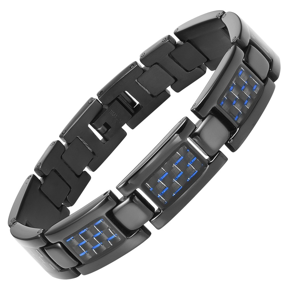 Willis Judd Men's Titanium with Carbon Fiber Lightweight Bracelet Adjustable with Gift Box
