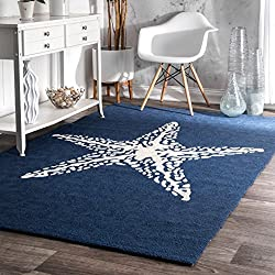 nuLOOM Blue Handmade Indoor/Outdoor Starfish Rug, 8 Feet by 10 Feet