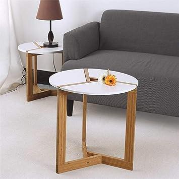 Unho Table Basse Ronde Scandinave Blanche 50 X 51cm Table D Appoint En Bois Brut Moderne Table Gigogne De Cafe Pour Salon Chambre Balcon Bar Hotel