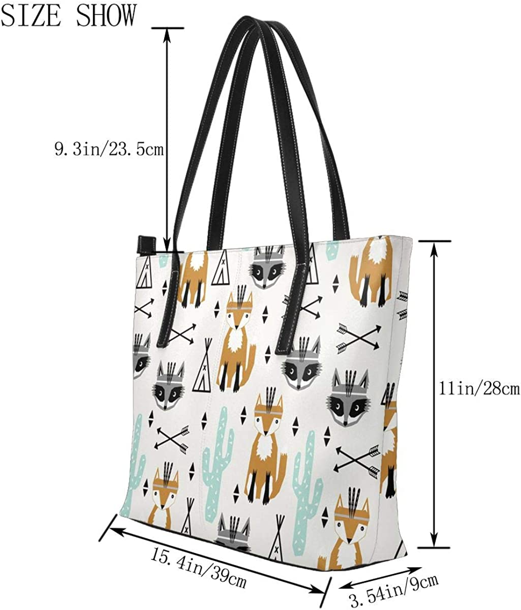 Orange Fox Arrow White Cactus PU Leather Printed Pattern Casual Handbags Shoulder Tote Bag Purse For Women Girls Vintage Tote Shopping Bags