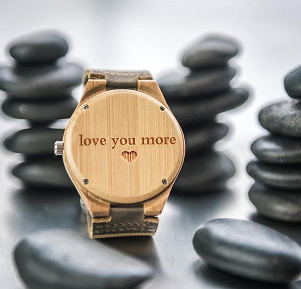 Amazon.com: Personalized Customized Wooden Watch with Photo Or Message Double-Side Engraving for Personalized Gift (40MM, Beige 1): Watches