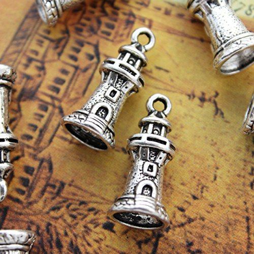 10 Lighthouse Charms Lighthouse Pendants Antiqued Silver Tone 3D 20x9mm (NS776)