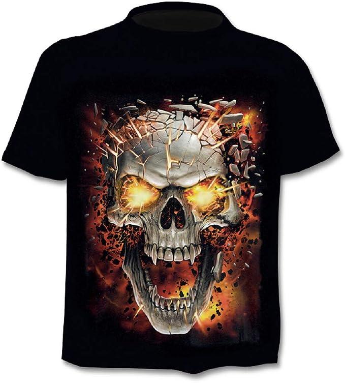Camiseta Hombre Calavera - gótico - Manga Corta - Divertido - Camisa - Metal - Biker - niño - Rock - Punk - Oscuro - Fuego - Disfraz - Halloween - Color Negro: Amazon.es: Ropa y accesorios