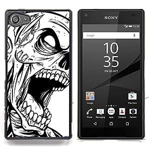 "Qstar Arte & diseño plástico duro Fundas Cover Cubre Hard Case Cover para Sony Xperia Z5 Compact Z5 Mini (Not for Normal Z5) (Zombie Skull - B & W Goth"")"