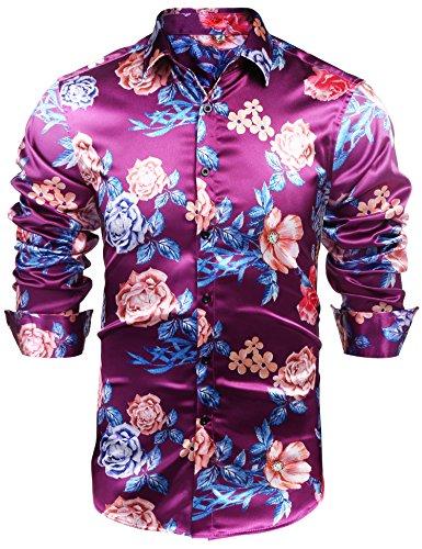 JINIDU Mens Floral Button Down Shirt Shiny Satin Silk Hip Hop Dance Prom (Silk Long Sleeve Floral Print Shirt)