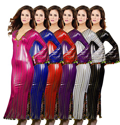 Oriental Handmade Abaya Sexy Beaded Saidi Costume Galabya Belly Dance Lingerie-Mauve - Galabeya Belly Dance Costume