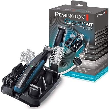Remington PG6150 - Kit cortapelos multifunción, cuchillas autoafilables con revestimiento de titanio, 5 cabezales, carga por USB micro, batería, ...