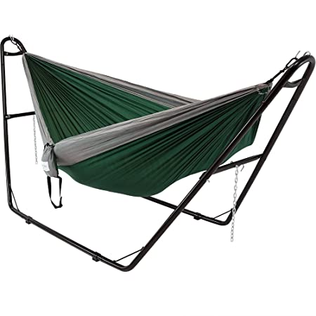 Sunnydaze Double Nylon Parachute Camping Hammock, Includes Carabiners and 2 Person Multi-Use Steel Hammock Stand, 440 Pound Capacity, Green and Grey