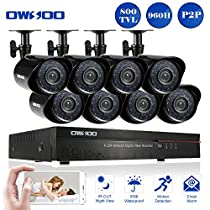 OWSOO 8CH Full 960H/D1 CCTV DVR Security Kit HDMI P2P Cloud Network Digital Video Recorder + 8x 800TVL Outdoor/Indoor Infrared Camera, Support IR-CUT Night Vision Weatherproof Plug and Play