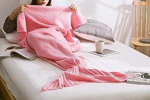JAH Premium Acrylic Fiber Girls Blanket Mermaid Tail Blanket for Teenage Adults Super Soft Mermaid Tail Sleeping Bag 31.5 x 71 Inches (Pink)