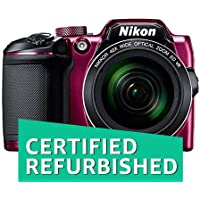 (CERTIFIED REFURBISHED) Nikon Coolpix B500 16MP Point and Shoot Camera with 40x Optical Zoom (Purple) + HDMI Cable + 16 GB SD Card + Carry Case