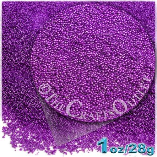 The Crafts Outlet MCR-GLS-MTL-MA6-PRP Metallic Glass Microbead, 1 Bag of 1-Ounce, Purple (Bead Metallic Wood)