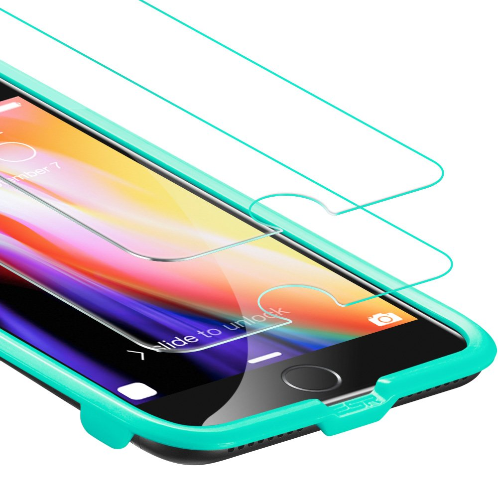 iPhone 8 Plus / 7 Plus Screen Protector, [2-Pack] ESR Force Resistant Up to 22 Pounds Tempered Glass with Free Self-Installation Kit, Case Friendly for iPhone 8 Plus / 7 Plus / 6s Plus / 6 Plus by esr