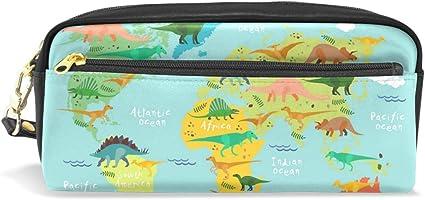 World Map Dinosaurios Estuche con compartimentos con cremallera para niños, niñas, niños, cosméticos, bolsa de maquillaje de cuero: Amazon.es: Oficina y papelería