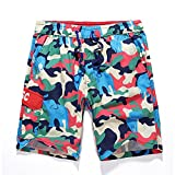 Pickin Summer Couple Beach Pants Cotton Large Size Loose Quick-Drying Pants Wholesale Fashion Camouflage Beach Pants,Water Green,XL