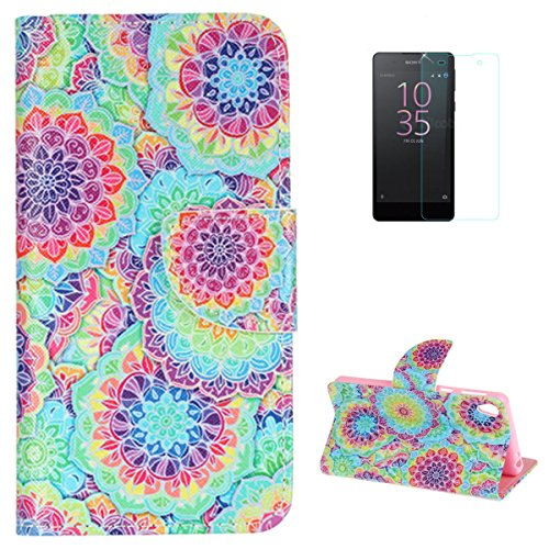 SONY Xperia E5 Flip Leather Wallet Case KaseHom [Free Screen Protector] Colorful Kaleidoscope Design Magnetic with [Function Card Slots][Kickstand] Slim Durable Anti Scratch Bumper Cover