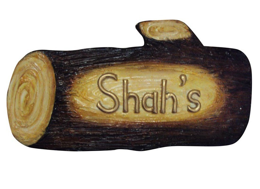 Craftedindia Wooden Log Shape Name Plate for Door