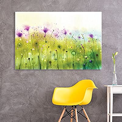Canvas Wall Art - Abstract Watercolor Style Purple Flowers in Spring - Giclee Print Gallery Wrap Modern Home Art Ready to Hang - 24x36 inches
