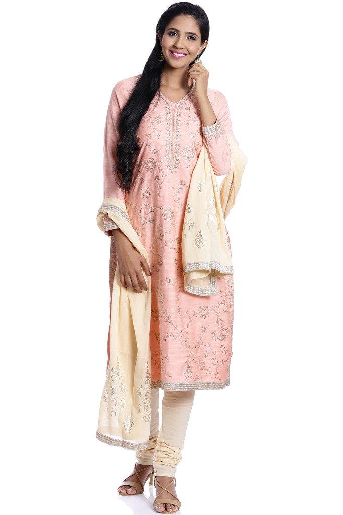 BIBA Women's Straight Cotton Silk & Viscose Suit Set 38 Peach