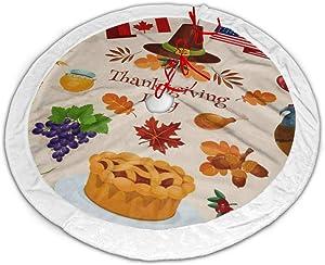 "Thanksgiving Turkey Pilgrim Hat Pumpkin Apple Pie Cornucopia Christmas Tree Skirt 30"" Plush White Faux Fur Small Christmas Tree Skirt Mat For Xmas New Year Decorations Ornaments Holiday Party Gifts Ou"