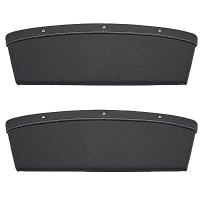 LOCEN Premium PU Leather Car Seat Gap Filler Catch Side Pocket Organizer Set of 2: Automotive