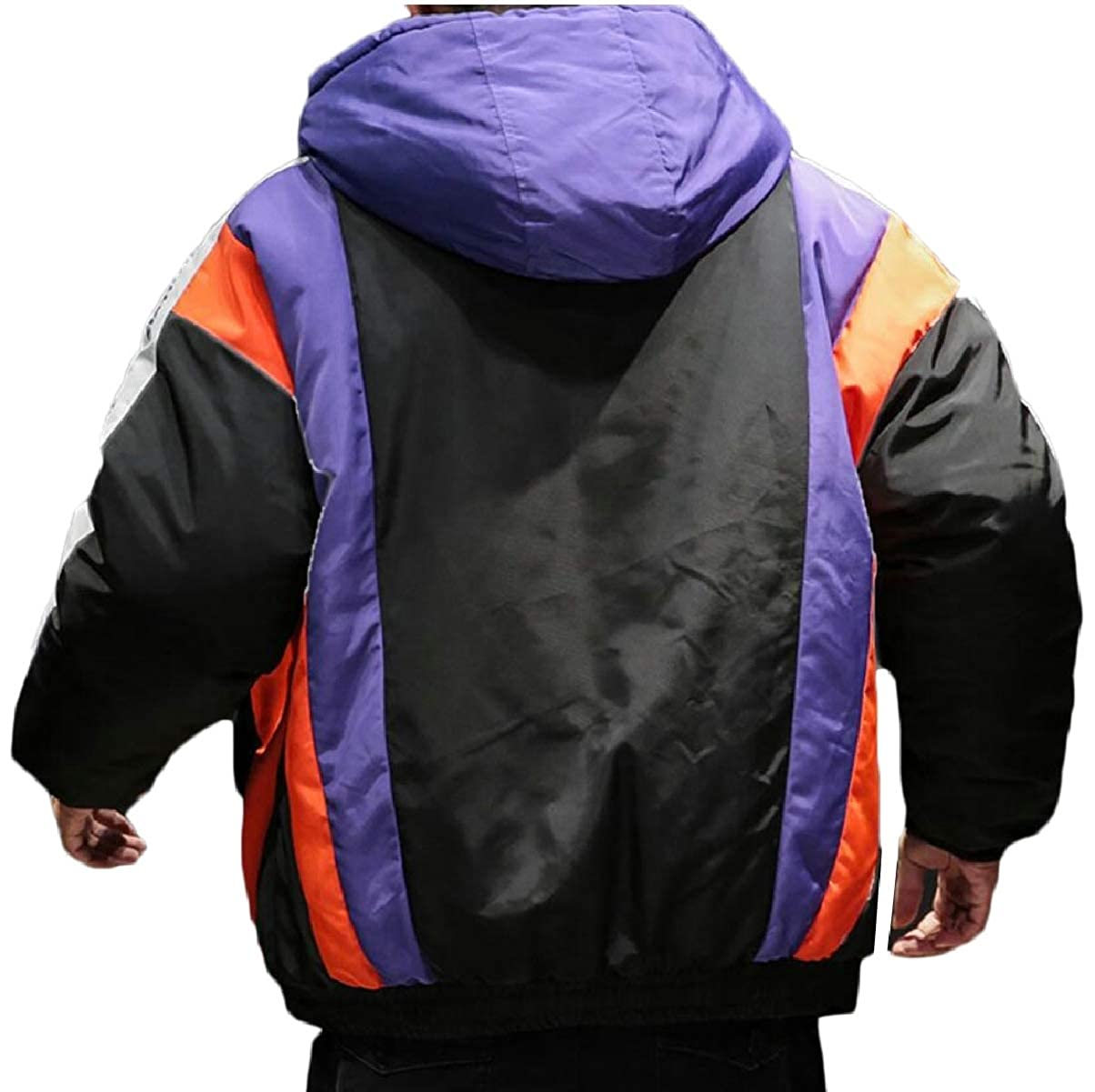 ZXFHZS Mens Hipster Quilted Color Block Big-Tall Thicken Down Jacket Coat