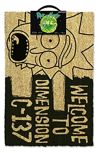 Rick And Morty Welcome To Dimension C-137 Door Mat Coir Black 60 x 40 x 1.5 cm Pyramid International