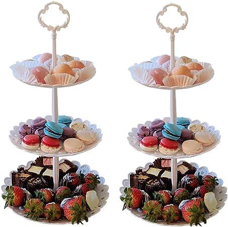 Amazon.com: Juego de 2 cupcakes de 3 niveles con soporte ...