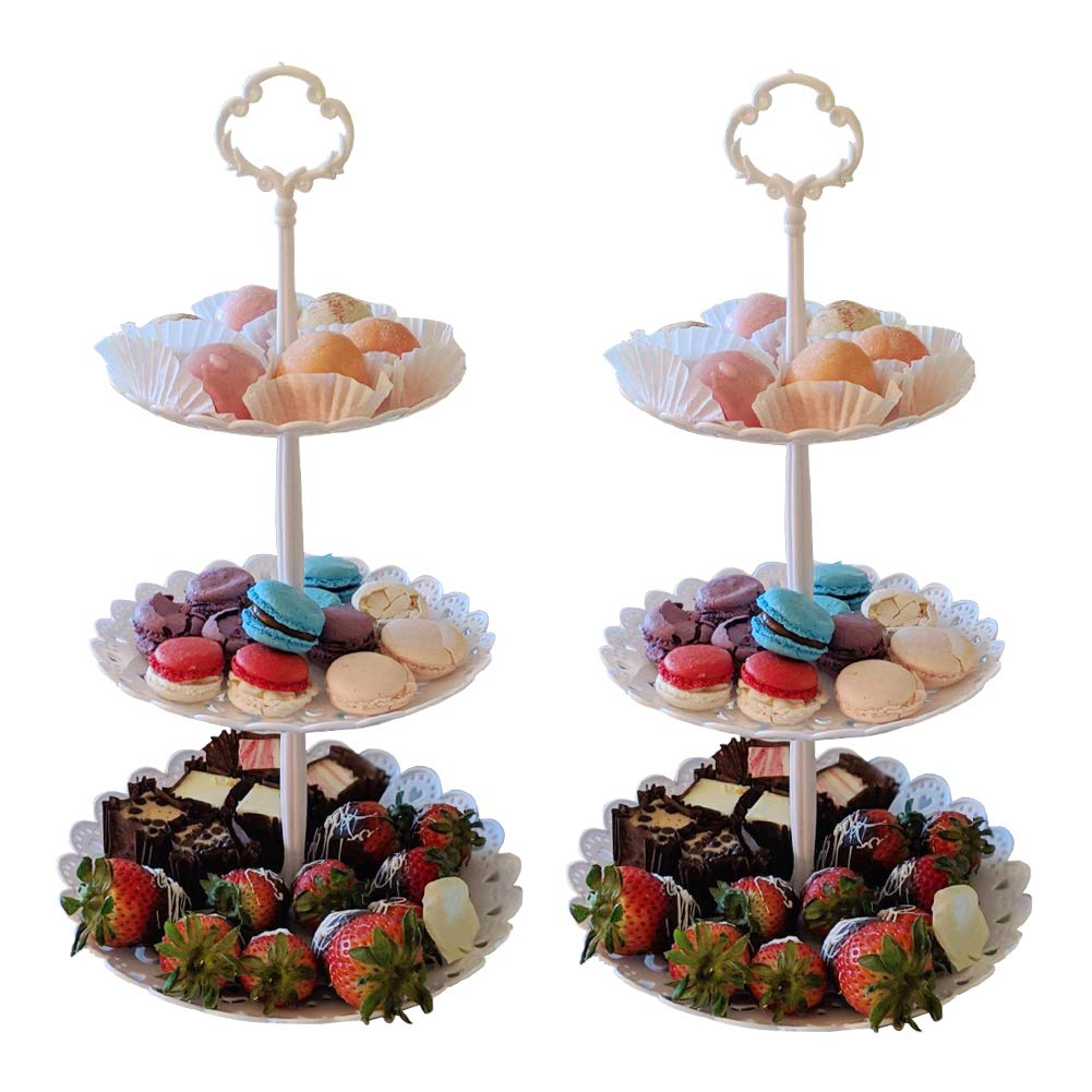 2 Pcs Set 3 Tier Dessert Stand Fruit Plate Plastic White Cup Cakes Cupcakes Desserts Fruits Candy Buffet Serving Tray Food Display for Wedding Baby Shower Home Birthday Tea Party Decoration Round