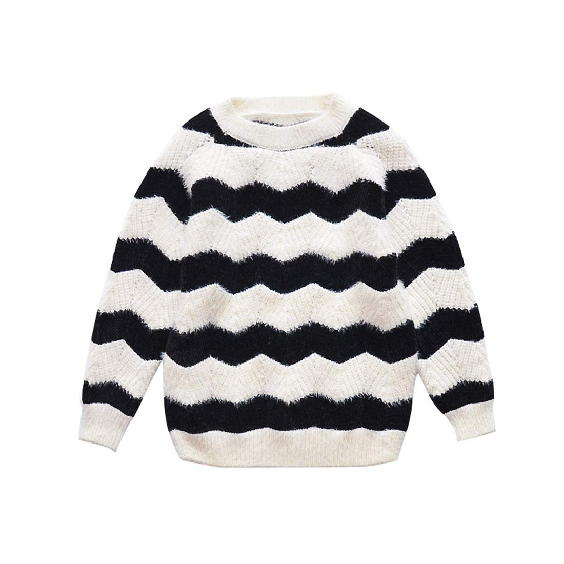 Autumn Boys Girls Sweater Imitation Hair Thickening Plush Sweater Sports Striped