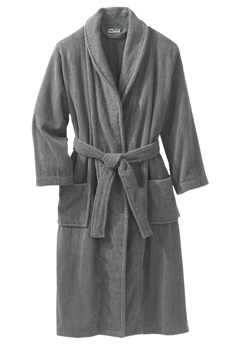KingSize Men's Big & Tall Terry Bathrobe with Pockets, Steel Big-5Xl/6X