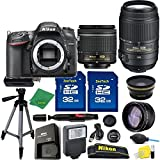 Great Value Holiday Bundle for D7200 with 18-55mm AFP + 55-300 VR + Tripod + 2pcs 32GB Memory Cards + Wide Angle + Telephoto + Reader + Lens Pen + Flash