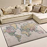 Naanle Vintage World Map Area Rug 5'x7′, Educational Polyester Area Rug Mat for Living Dining Dorm Room Bedroom Home Decorative For Sale