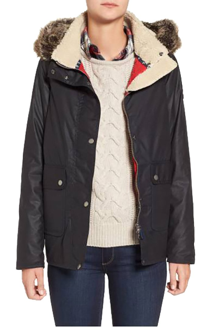 Barbour Cravasse' Water Repellent Waxed Cotton Jacket with Faux Fur Trim 12