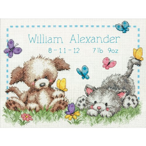 Dimensions 70-73883 Pet Friends Baby Birth Record Counted Cross Stitch Kit-12X9 14 (Friends Birth Record)