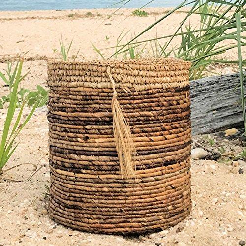 The Boho Beach House Tassel Basket, Relaxed Coastal Style, Woven Banana Leaf and Sisal, Barrel Shape, Over 1 Ft Diameter, By Whole House Worlds (Laundry Leaf Banana Basket Woven)