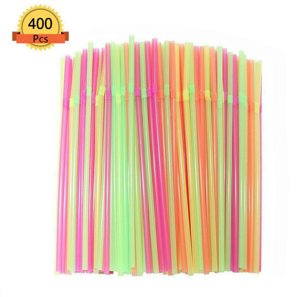 200 Flexible Multi Color Drink Straws Large Supply for Party//Picnic BPA-Free