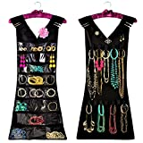 Marcus Mayfield Hanging Jewelry Organizer, Closet Storage with Satin Hanger, 2 sided for Jewelry, Hair Accessories & Makeup (1-Black Dress & Pink Satin Hanger, 24 pockets 17 hooks)