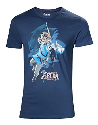 cf386c47d The Legend of Zelda Breath of The Wild - Link with Arrow T-Shirt Blue:  Amazon.co.uk: Clothing