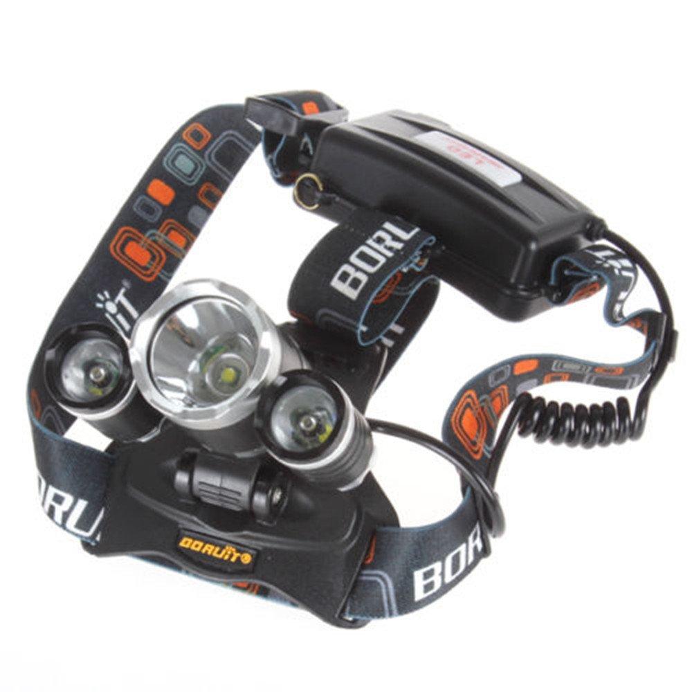 Boruit RJ-3000 4000Lm 4 Modes 3X CREE XM-L T6 LED Rechargeable Headlamp Headlight + AC Charger