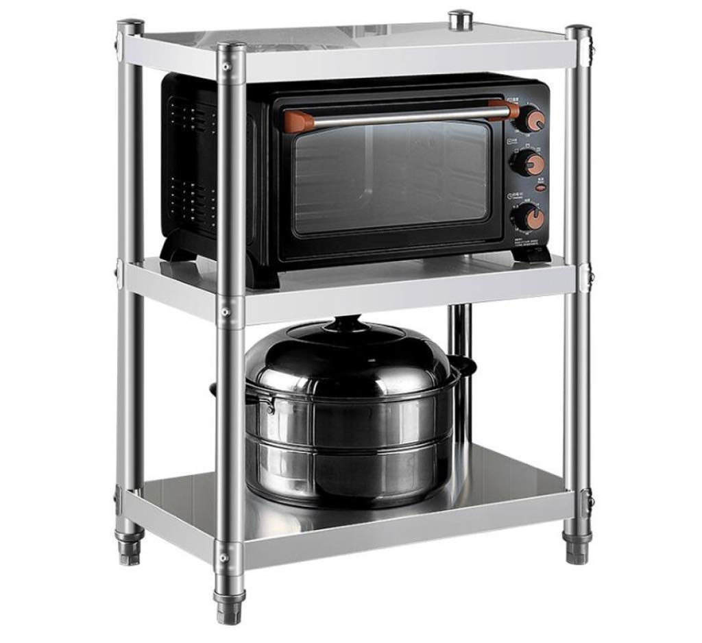 HUYYA Kitchen Storage Shelf Unit Rack Utility, Adjustable Pantry/Bakers Microwave Rack Multi-Functional Spice Rack,Silver_24x18x36inch by HUYYA (Image #1)