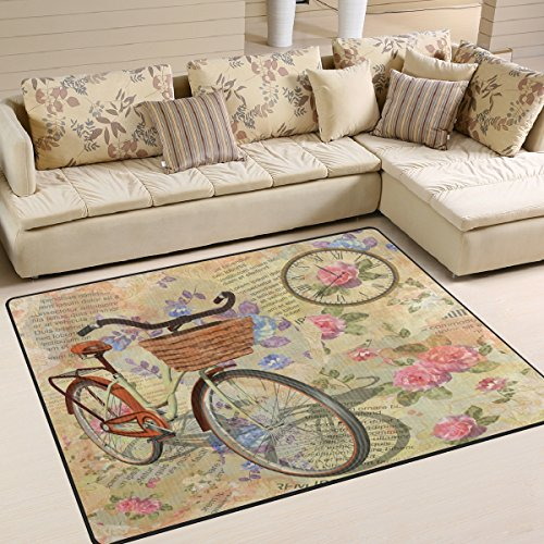 ALAZA Rose Flower Bicycle Vintage Area Rug for Living Room B