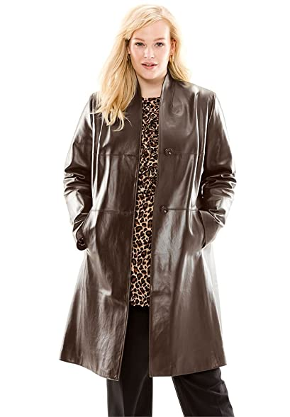 Jessica London Women's Plus Size Leather Swing Coat at Amazon ...