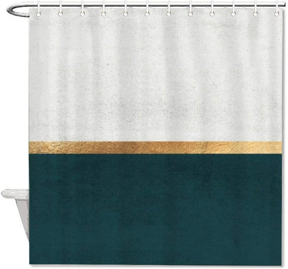 VinMea Deep Green, Gold and White Color Block Waterproof Fabric Bath Curtain with Hooks,Shower Curtain for Bathroom Decor 60
