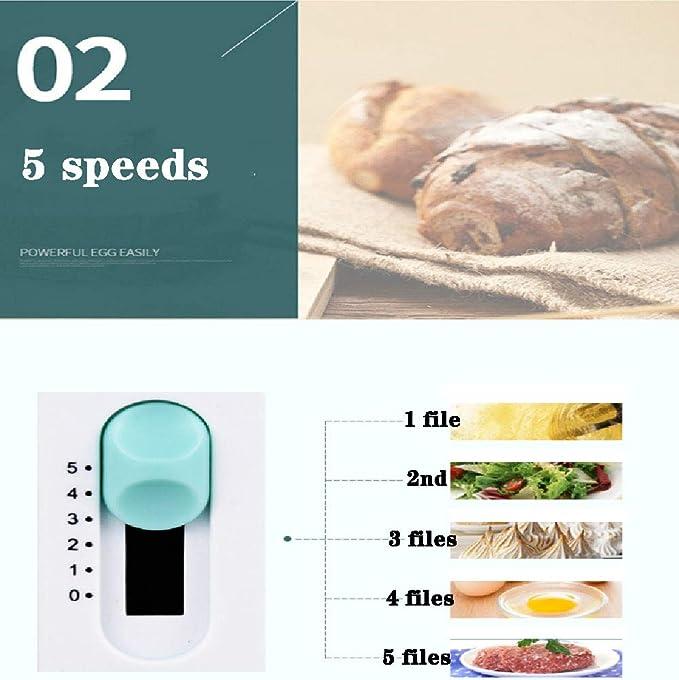 FTNJG 5 velocidades Varillas amasadora 2 en 1 Máquina de batidor de Huevo Ligero Batidora de Mano eléctrica fácil de Usar y de fácil Limpieza para Cocina, 200W ...