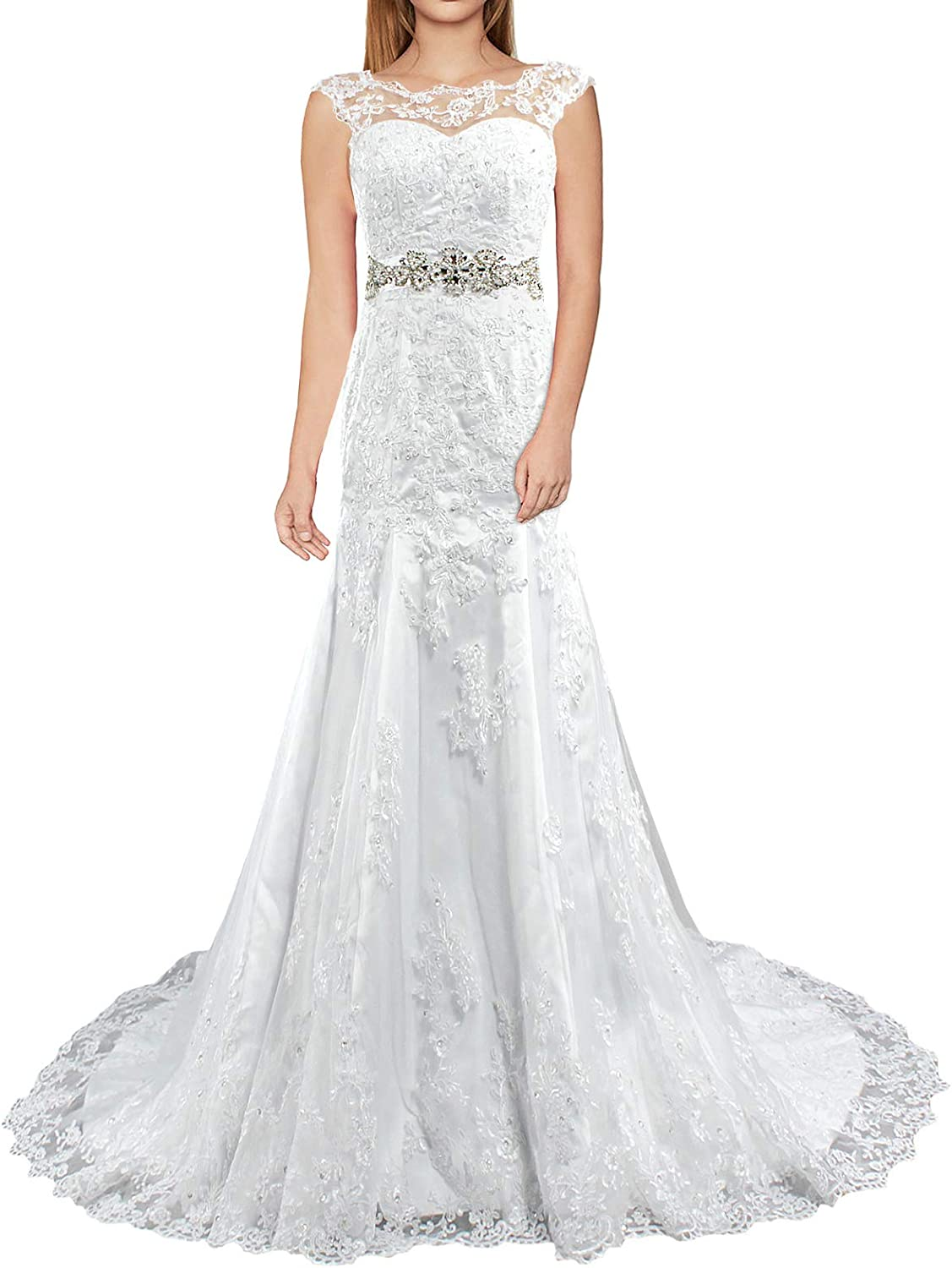 Dreamdress Womens Lace Sheer A-Line Wedding Dresses Sleeveless Bridal
