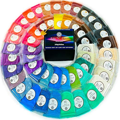 - Mica Powder 50 Color Set [5g/0.18oz Each] Perfect for Epoxy Resin, Acrylic Paint, 50 Vibrant Pigment Powder Colors Kit, Cosmetic Grade, Pearl Colorant Dye for Bath Bomb, Soap Making, Slime Supplies