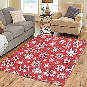 Amazon.com: InterestPrint Santa Christmas Snowflake Area Rug Floor ...