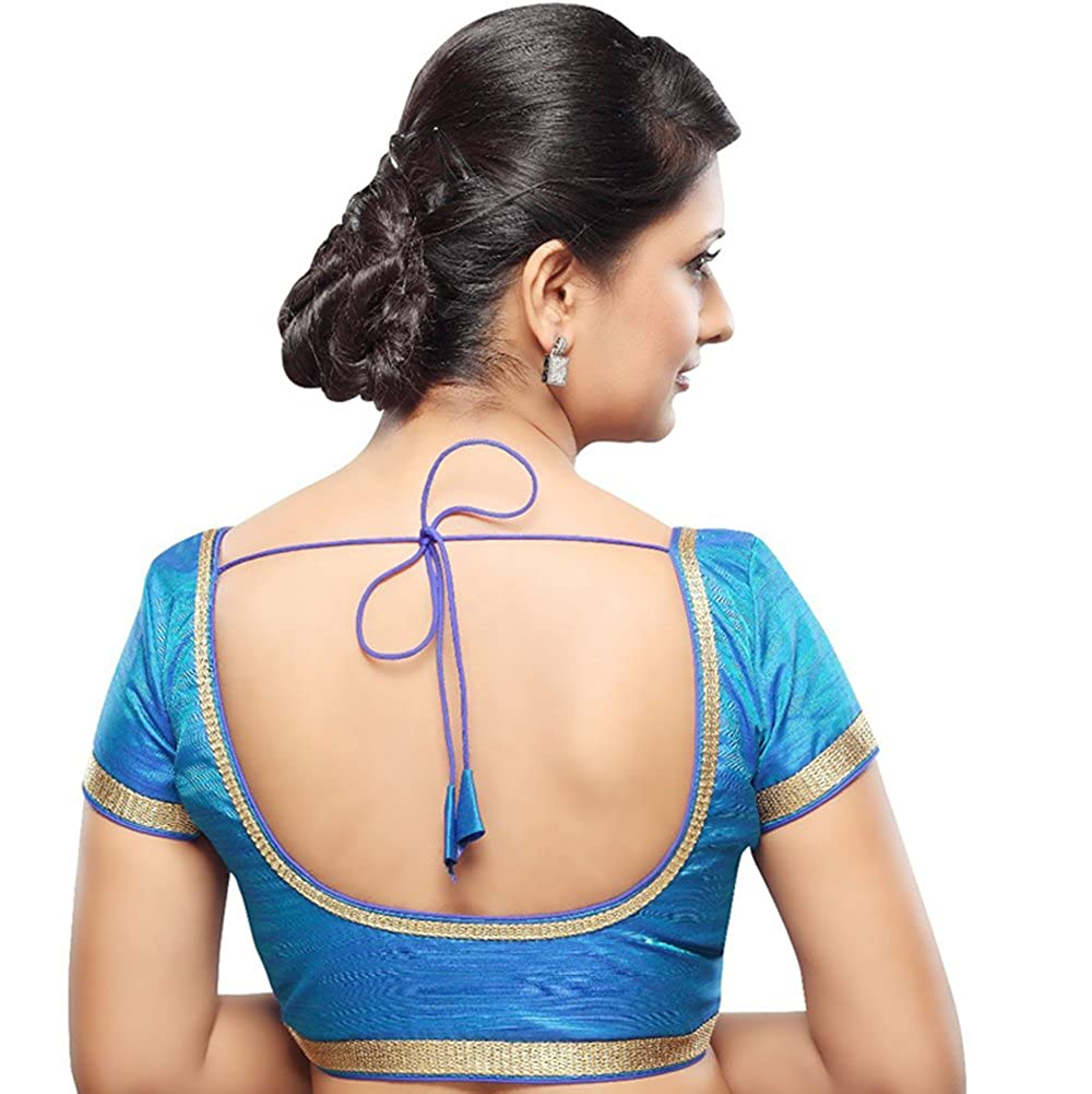5101f2f9a2ac2 Bollywood Blouses Women s Readymade Back Open Lace Saree Blouse Blue at  Amazon Women s Clothing store